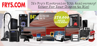 Fry's Electronics – Win a tons of great prizes from 30thAnniversary Sale-A-Bration Sweepstakes by June 1, 2015!