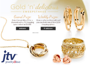 JTV – Win a $5,000 shopping credit or a $250 shopping credit from JTV by May 31, 2015 – WEEKLY!