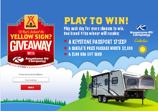 KOA – Win a $19,500 Keystone Passport 171EXP RV, a $2,000 prize package from Cabela's, and $100 KOA Gift Card by August 30, 2015!