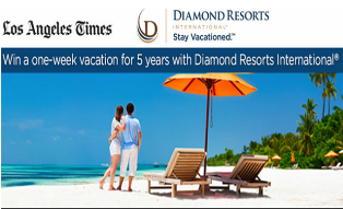 LA Times – Win a vacation for two people at Diamond Resort plus $1,000 towards transportation by August 28, 2015!