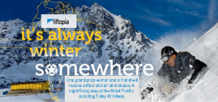 Liftopia – Win an ultimate South American ski trip to Ski Portillo valued at $4,600 by May 12, 2015!
