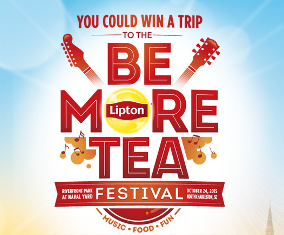 Lipton – Win a trip for two to Charleston, SC to attend the Lipton® Be More Tea Festival by September 19, 2015!