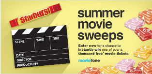 Moviefone – Win 1 of 1000 free movie tickets by July 1, 2015!