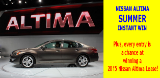 Nissan – Win a 2015 Nissan Altima SV 24-month lease plus $5,500 check and over 7,500 prizes by August 25, 2015