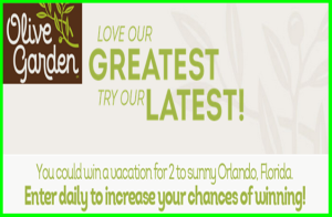 Olive Garden  – Win A $3,000 trip for 2 to Orlando, FL and more Instant win games by May 31, 2015 – INSTANTLY !
