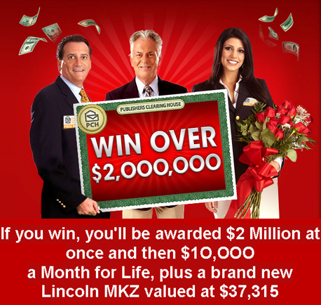 PCH – Win $2,000,000 Lump-Sum, a Brand New Lincoln MKZ plus $10,000 A-Month-For-Life by June 23, 2015!