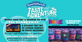 Peanut Butter & Co – Win a $4,975 trip to London, England plus a year's supply of Peanut Butter an more prizes by May 15, 2015!