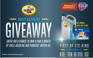 Pennzoil – Win 1 of 31 Daily Prizes including $2,500 Shell Gift Cards  plus a $100 Advance Auto Parts Gift Cards for the purchase of Pennzoil motor oil by  May 31, 2015 – DAILY!
