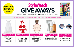 People – Win one of great stuffs valued at $4,966 from StyleWatch Giveaways on Mother's Day 2015!