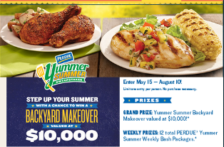 Perdue – Win a $10,000 gift card and 12 Yummer Summer Weekly Bash Packages by August 10, 2015 – WEEKLY!