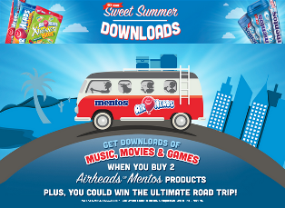 Perfetti Van Melle – Win 1 of 50 prize packages valued at $1,100 Hertz rental car voucher,  American Express gift card and Mentos and Airheads swag and products by July 31, 2015!