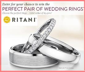 Ritani – Win 2 Wedding Rings value up to $3,500 maximum from Ritani.com by June 29, 2015!
