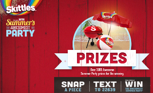 Skittles – Win a $430 prize package plus a $10,000 check and  a tons of prizes by August 8, 2015 – DAILY!