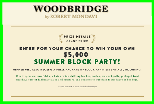Woodbridge Winery – Win $5,000 check and more gifts by July 7, 2015!