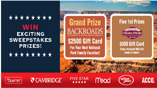 Work Space Central – Win a $2,500 gift card for your next national Park Family Vacation and a $500 gift card from Omaha Steaks by July 31, 2015!