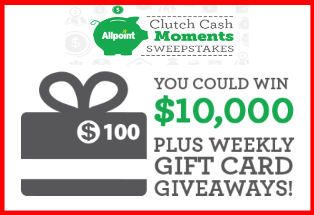 ATM National  – Win a $10,000 check or a $100 gift card to an Allpoint Network participating retailer by August 30, 2015