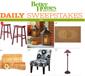 BHG – Win items for your home – everything from furniture to kitchenware by July 31, 2015 – DAILY!