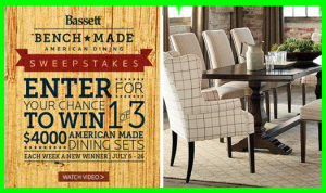Bassett Furniture – Win a $4,000 shopping spree to a Bassett Home Furnishings store by July 26, 2015