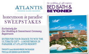 Bed bath & Beyond – Win 1 of 20 grand prizes of a $4,720 trip for 2 to Nassau, Bahamas by April 30, 2016 – MONTHLY!