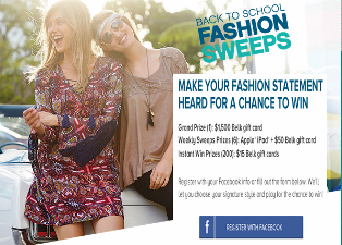 Belk – Win a $1,500 Belk gift card plus an Apple iPad, a $50 Belk gift card and more instant prizes by August 29, 2015 – INSTANTLY !