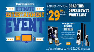 Charter Communications – Win a $7,500 Visa Gift Card or a $1,000 Visa Gift Card by October 7, 2015