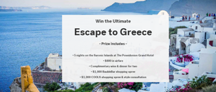 Cools – Win the Ultimate Escape to Greece for 2 value at $4,850 by July 28, 2015