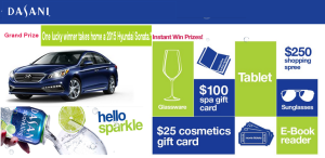 DASANI- Win a 2015 Hyundai Sonata SE plus $3,000 and more prizes by September 22, 2015 – INSTANTLY!
