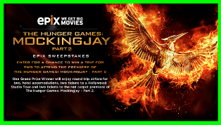 Epix – Win a $4,550 trip for 2 to attend the Premiere of the hunger games – Mockingjay part 2 by July 24, 2015 .