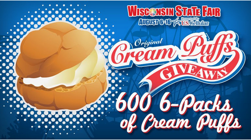 Fox 6 – Win one of 600 six-packs of Wis. State Fair cream puffs by July 23, 2015!