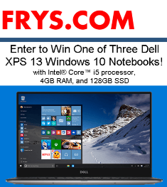 Fry's Electronics – Win 1 of 3 prizes of  a Dell XPS 13 Ci5-5200U Laptop by August 10, 2015