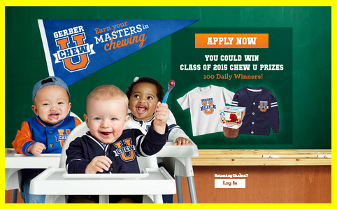 Gerber – Win 1 of  6,100 instant prizes of a Chew U Prize pack valued at $35 by September 4, 2015 – INSTANTLY!