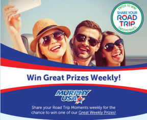Murphy Oil – Win weekly great prizes from share your road trip sweepstakes by September 29, 2015– WEEKLY!