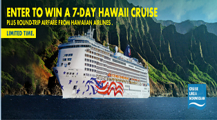 Norwegian Cruise Line – Win a Hawaii Cruise plus round trip airfare from Hawaiin Airline valued at $10,510 by July 31, 2015