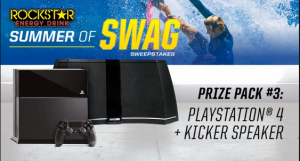 ROCKSTAR – Win a Gaming Prize Pack including a PS4 plus a wireless Kicker speaker an more prizes by July 31, 2015