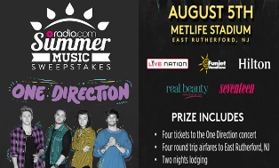 Radio.com – Win a round-trip for 4 to New Jersey and four tickets to the One Direction concert in East Rutherford by July 14, 2015