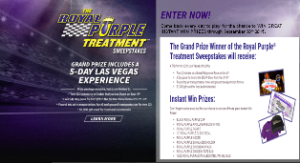 Royal Purple – Win a $5,450 trip for 2  to the Global Rallycross Championship Race in Las Vegas, NV and more instant prizes by September 30, 2015 – INSTANTLY!