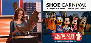 Shoe Carnival – Win a $10,880 trip  for 4 to Walt Disney World Resort near Orlando, FL and a pair of New Balance sneakers by August 15, 2015