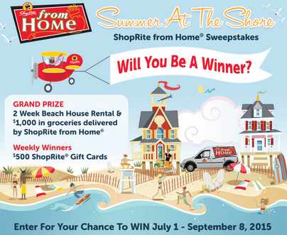 ShopRite – Win a beach house rental plus $1,000 in groceries by Shoprite and $500 gift card by September 8, 2015