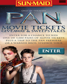 Sun Maid – Win a trip for 2 to the Pan movie in New York, NY or a trip to go on a Warner Bros, studio tour and more by October 17, 2015