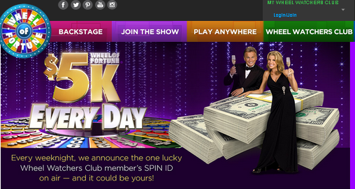 Wheel of Fortune – Win $5,000 cash every day by August 3, 2015!