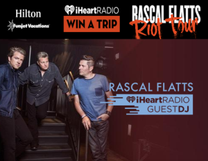 iHeartRadio – Win a $2,200 trip & Tickets to the Rascal Flatts Concert in Boston by July 20, 2015