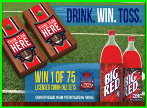 Big Red – Win 1 of 75 Grand Prizes of one Victory Tailgate cornhole set by September 30, 2015!