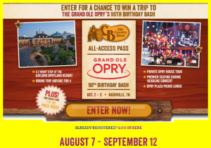 CB Old Country Store  – Win a $7,304 trip for 4 to the Grand Ole Opry 90th Birthday Bash Weekend in Nashville, TN and more prizes by September 12, 2015