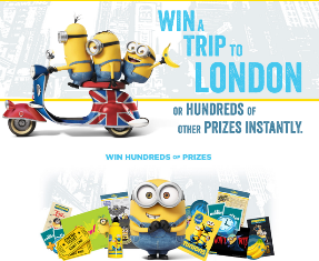 Chiquita Minions – Win a $5,000 trip for 4 to London, England or  a $5,000 check and hundreds of instant prizes by August 15, 2015