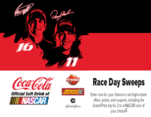 Coca-Cola – Win high-octane offers, prizes, and coupons, including the Grand Prize trip for 2 to a NASCAR race of your choice by August 31, 2015 – INSTANTLY!