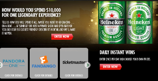Heineken – Win $10,000 and more Instant win prizes by September 30, 2015 – INSTANTLY!