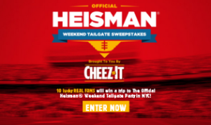 Kellogg's – Win a trip to The Official Heisman Tailgate Party Weekend in New York, NY an more prizes by December 31, 2015!