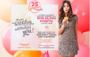 ULTA – Win 1 o 25 grand prizes of  25,000 Ultamate Rewards points plus a $25 Ulta Beauty gift card and more prizes by August 29, 2015 – INSTANTLY !