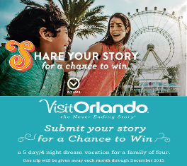 Visit Orlando – Win a trip for 4 to Orlando, Florida valued from $5,000 to $12,360 by December 31, 2015!