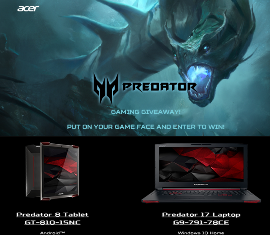 ACER – Win one of 3 stunning machines as a Predator tablet, laptop or desktop up to $1,500 by November 22, 2015 – WEEKLY !